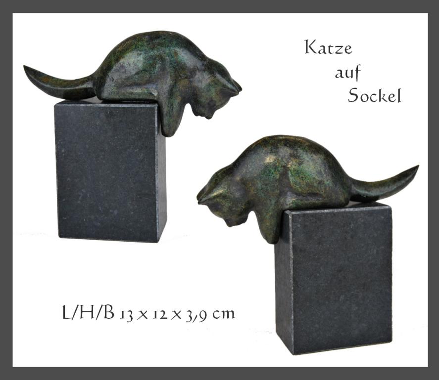 orig bronze skulptur quot katze quot auf sockel ebay